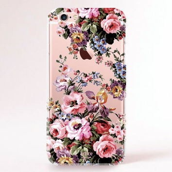 Clear Transparent iPhone 6s case, iPhone 6s plus case, iPhone 6 Case, iPhone 6 Plus Case, iPhone 5S Case, iPhone 5C Case - Gorgeous flowers