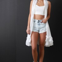 Sleeveless Ruffled Hem Cardigan