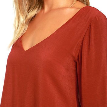 Something Magical Rust Red Long Sleeve Shift Dress
