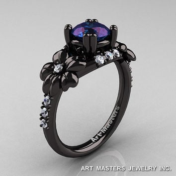 Nature Inspired 14K Black Gold 2.0 Ct Alexandrite Diamond Leaf and Vine Engagement Ring R245-14KBGD2AL