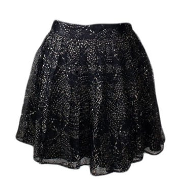 Black & Gold Chiffon Skirt