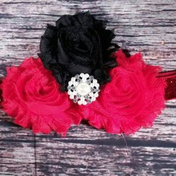 Baby Headband / Beautiful Fancy Red and Black Baby