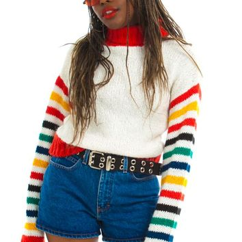 Vintage 70's Rainbow Sleeve Turtleneck - One Size Fits Many