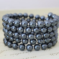 Gray Glass Pearl Wrap Bracelet.  Beaded Braceler. Wrap Braceler. Grey Stretch Bracelet. Womens Bracelet. Gifts for her