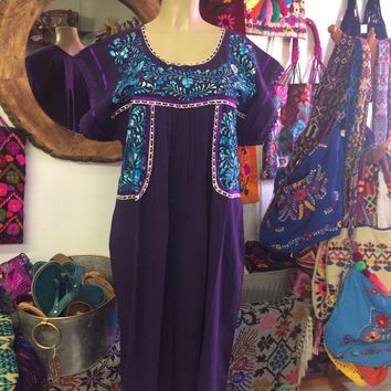 Mexican Fino Embroidered Maxi Dress Purple and Blue