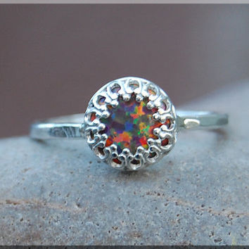 Fire Opal Ring, Crown Bezel Set Quartz Ring, Sterling Silver gemstone Ring, Opal Cocktail Ring, Stacking Ring, Fire Opal Promise Ring