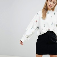Pimkie Ditsy Floral Embroidered Sweatshirt at asos.com