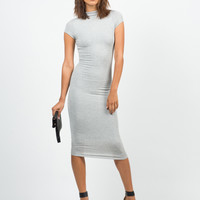 Mock Neck Basic Midi Dress - Heather Gray