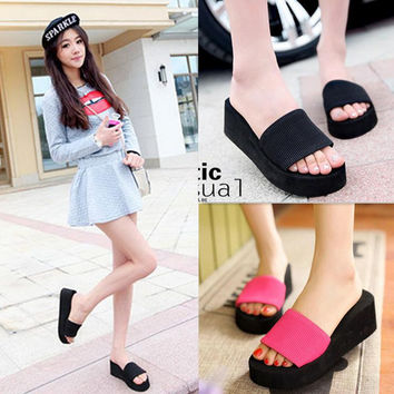 Women sandals, slippers new summer fashion solid color muffin sandals, home shoes, wedge heel sandals