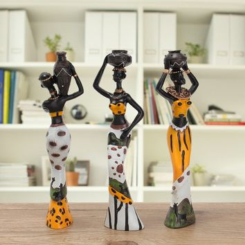3Pcs Resin Vintage African Lady Figurine Art Ornament Gift Home Decor Sculpture
