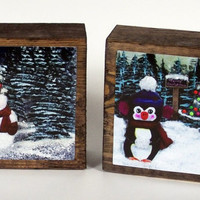 Christmas Block Snowman Penguin Decoration