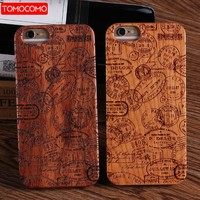 TOMOCOMO Real Bamboo Stereo Pattern Wood Case For iPhone 7 6Plus 8 8Plus Case Coque Phone Accessories For Apple iPhone Cover