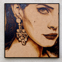 Lana Del Rey inpired pyrography art FREE SHIPPING