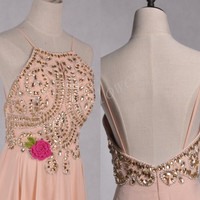Long Champagne Backless Prom Dresses,Beaded Crystal Evening Dresses,Chiffon Bridesmaid Ball Grown Dresses,Bridesmaid Dresses,Homecoming