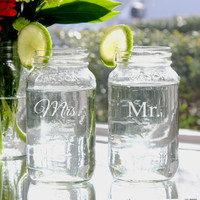Mr. & Mrs. 26oz. Ball Mason Jar Set