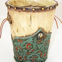 PRICE REDUCTION - Turquoise and Red Flowers Waste Basket