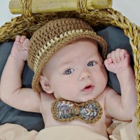 HandmadeTrend — Baby hand Crochet Derby Hat with Tweed Crocheted Bow Neck Tie
