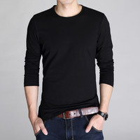 Autumn Men's Fashion Cotton Casual Round-neck Men Long Sleeve T-shirts [6541375235]