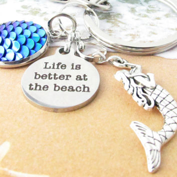 Nautical Keychain with Mermaid Charm