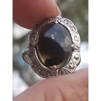 Art deco dendritic moss agate marcasite vintage sterling silver ring size 6