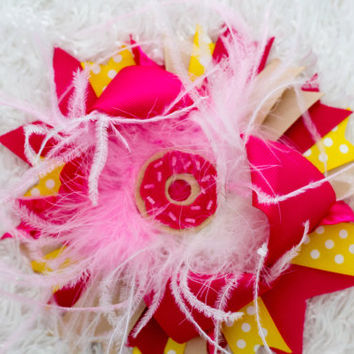 Over the Top Bows | Donut Hairbows | Birthday Bows | Infant Hairbows | Pink Yellow Tan Bows | Big Bows | Birthday Hair Accessories