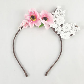 Pink flower crown, Bunny ears, Floral crown, Bohemian, Anime, Cosplay, Bunny ear headband, Bunny ears headband, Anime bunny ears, Festival