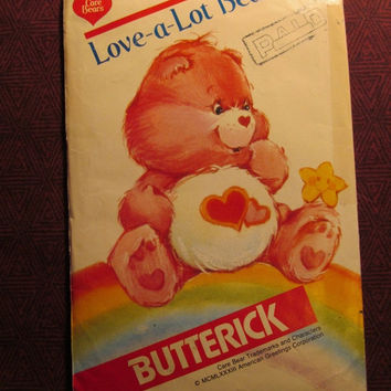 Sale Uncut 1980's butterick Sewing Pattern, 6232! Love-a-Lot Bear/Care Bear/Stuffed Toys/Stuffed Bears/Kids Toy/Collectible/Home Decor