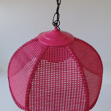 Pink Swag Lamp Light Hanging Lamp Chandelier Baby Nursery Chic Shade Wicker Rattan Girls Bedroom Bathroom Vanity Lighting Hot Pink Fuchsia