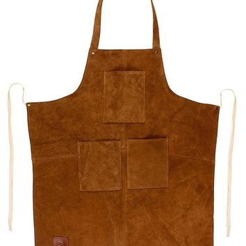 RUSTIC TOWN - Genuine Leather Grill Work Apron with Tool Pockets