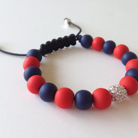 Shamballa Bracelet, Red Sox, Polymer Clay Beads Bracelet, Red, Navy Blue, Silver Plated Pave Bead