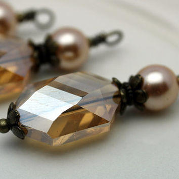 Golden Topaz Oval Hexagon Faceted Crystal and Golden Pearl Bead Dangle Charm Drop Set