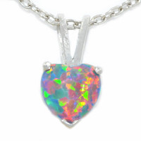 1 Carat Black Opal Heart Pendant .925 Sterling Silver Rhodium Finish White Gold Quality