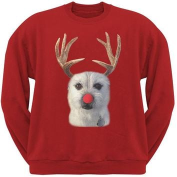 LMFCY8 Funny Reindeer Dog Ugly Christmas Sweater Red Sweatshirt
