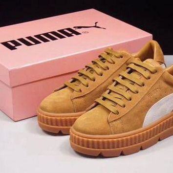 PEAPON3A VAWA Puma Fenty by Rihanna Cleated Creeper Suede Flatform Shoes Brown