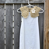 Crochet Newborn Baby Shrug - Light Tan Baby Bolero w/ Flower - Newborn Neutral Bolero