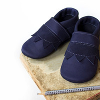 Leather Baby Booties, Baby Shoes, Navy Blue Infant Newborn Nursery Children Zigzag