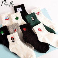 funny female Woman Socks women Japanese Concise Black And White Original Old Interest Cartoon Embroidery Pattern In Socks