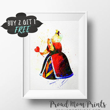Alice Wall Art, Alice Printable Art Prints, Tea Party Alice Nursery Art, Alice Wall Decor Watercolor Disney Alice Art Print, Queen Of Hearts
