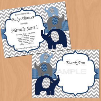 Elephant Baby Shower Invitation Boy Baby Shower invitations Printable Baby Shower Invite -FREE Thank You Card - editable pdf Download (57b1)
