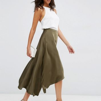 ASOS Midi Skirt in Satin with Splices at asos.com