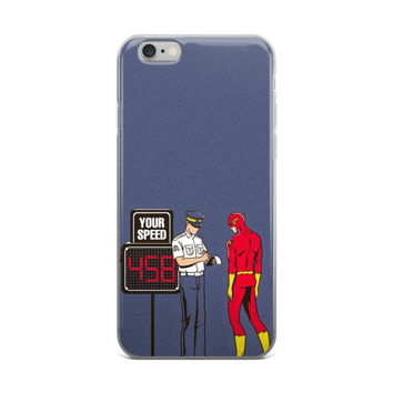 """Speeding Ticket"" The Flash Gets Stopped By Traffic Officer Funny DC Comics Blue iPhone 4 4s 5 5s 5C 6 6s 6 Plus 6s Plus 7 & 7 Plus Case"