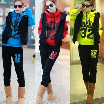 Womens Casual Hoodies 3pcs Coat+Vest+Pants Warm Sports Suit Tracksuit = 1828311684