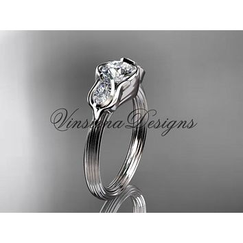 "Platinum leaf and vine, tulip flower engagement ring, ""Forever One"" Moissanite VD10059"