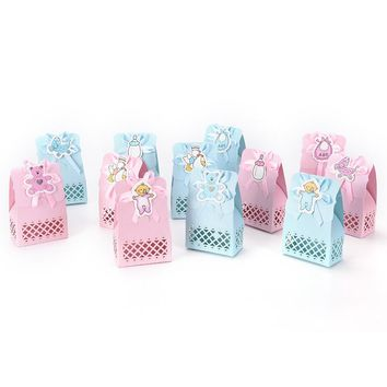 12pcs Cute boy and girl Paper Baptism Baby Shower candy box Event Party Supplies Decoration Kid Favors Gift Sweet Birthday Bag