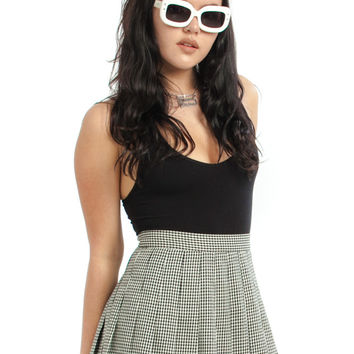 Vintage 80's Down, Doggy Houndstooth Pleated Mini Skirt - M
