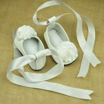 100% Genuine Leather Baby moccasins shoes white big floral soft sole baby girls Shoes frist walkers