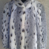 Fur women's coat 60's Mariel authentic vintage thick fur large likely faux  two snap  and gray button neck  bomber fur jacket white brown