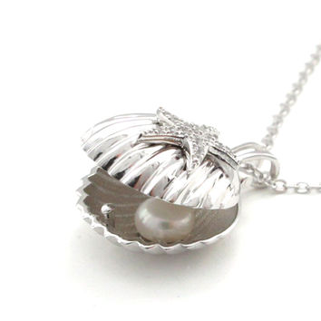 Seashell and Freshwater Pearl Locket Pendant Necklace