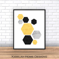 Geometric Printable, Geometric Art, Printable Art, Hexagon Print, Geometric Print, Scandinavian Art, Wall Decor,Abstract Art Print, -Yellow-