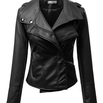 Zip Wrap Notched Collar Leather Jacket